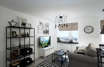 Гостиная с небольшим диваном и телевизором